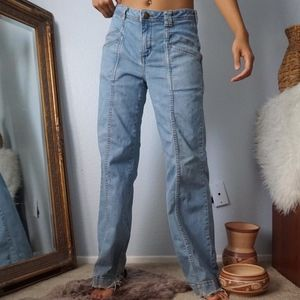 Free People Detailed Light Wash Bell Jeans 31